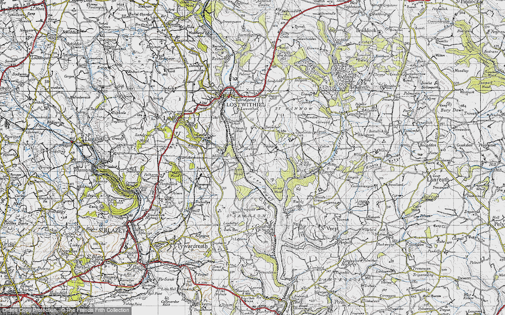 Old Map of Historic Map covering Lantyan Wood in 1946