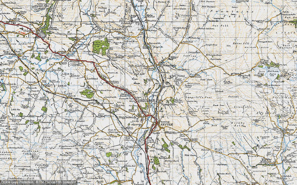 Old Map of Stackhouse, 1947 in 1947