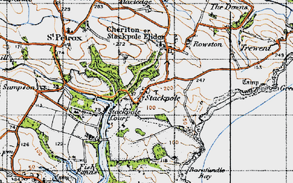 Old map of Stackpole in 1946