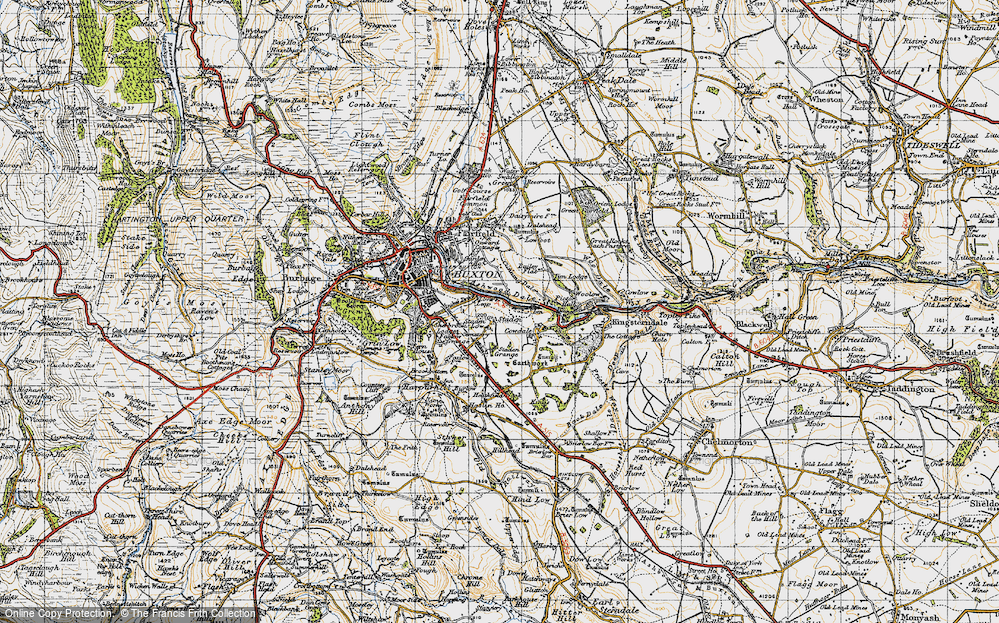 Old Map of Historic Map covering Ashwood Dale in 1947