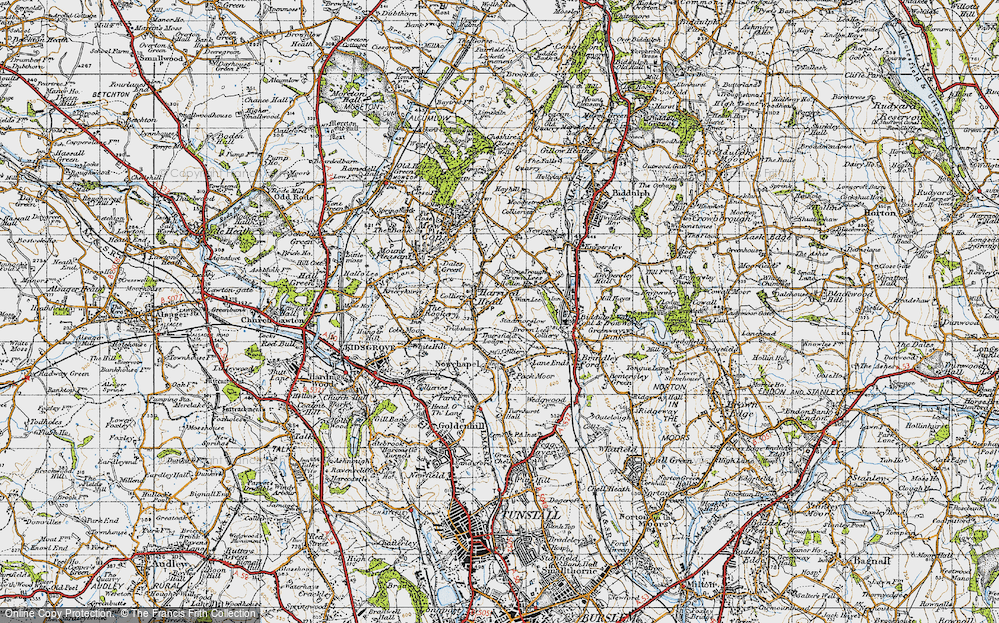 Old Map of Historic Map covering Thursfield Lodge in 1947