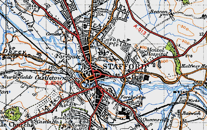 Old map of Stafford in 1946