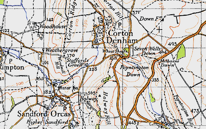 Old map of Wheat Sheaf Hill in 1945