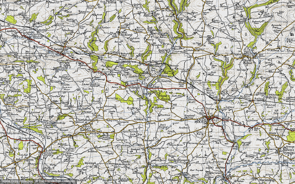 Old Map of Historic Map covering Woodhouse in 1946