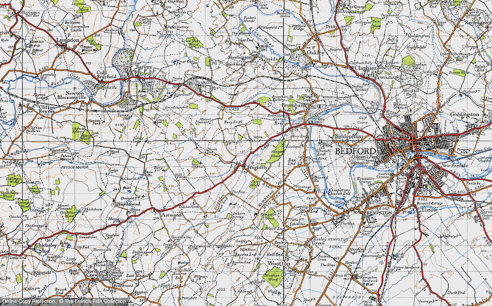 Old Map of Historic Map covering Astey Wood in 1946