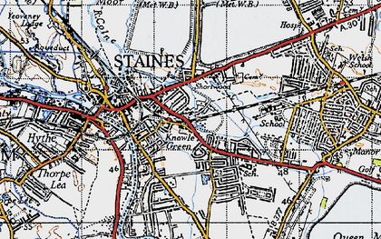 Old map of Staines in 1940