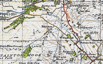 Old map of Whit Fell in 1947