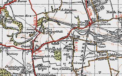 Old map of Stakeford in 1947
