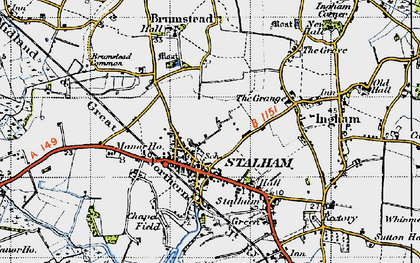Old map of Stalham in 1945