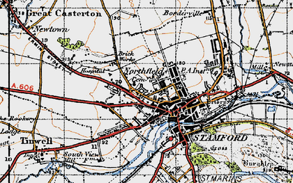 Old map of Stamford in 1946