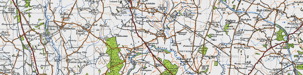 Old map of Standford Bridge in 1946
