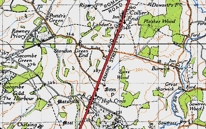 Old map of Standon Green End in 1946
