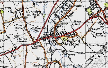 Old map of Stanford-le-Hope in 1946