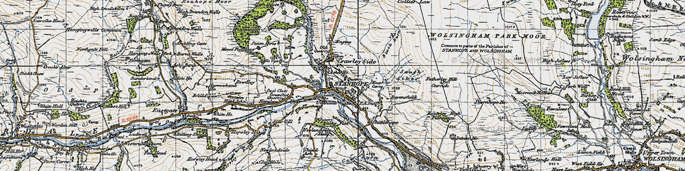 Old map of Stanhope in 1947