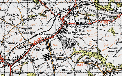 Old map of Stanley in 1947