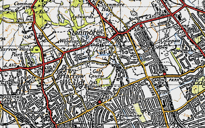 Old map of Stanmore in 1945