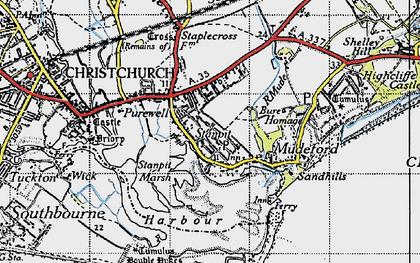 Old map of Hengistbury Head in 1940