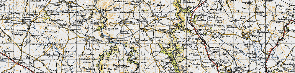 Old map of Wetton Low in 1947