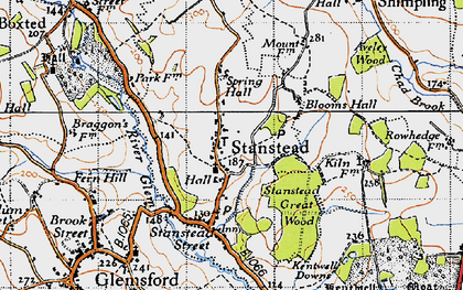 Old map of Stanstead in 1946