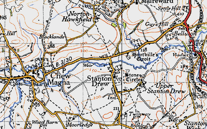 Old map of Stanton Drew in 1946