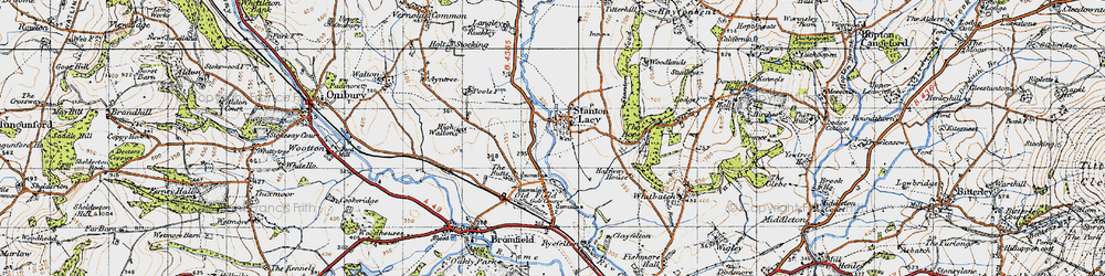 Old map of Stanton Lacy in 1947