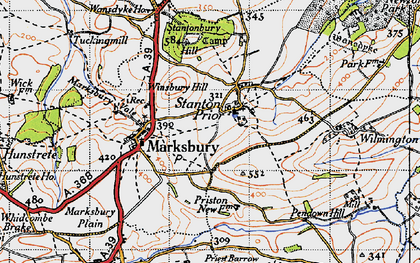 Old map of Winsbury Hill in 1946