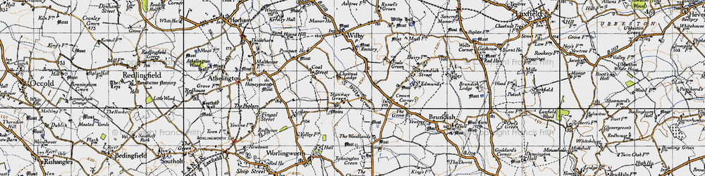 Old map of Wilby Green in 1946