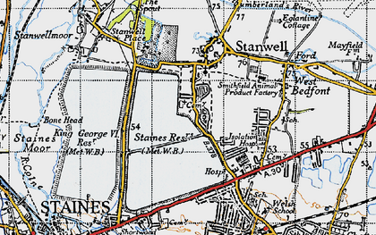 Old map of Stanwell in 1940