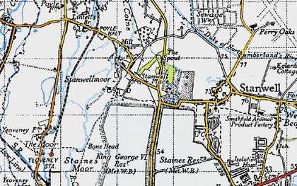 Old map of King George VI Reservoir in 1945