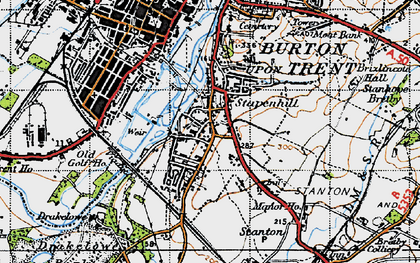 Old map of Stapenhill in 1946