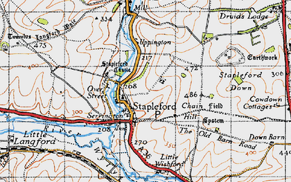 Old map of Stapleford in 1940