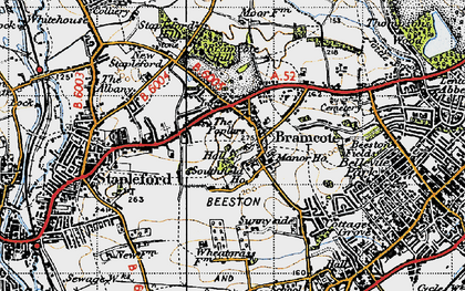 Old map of Stapleford in 1946