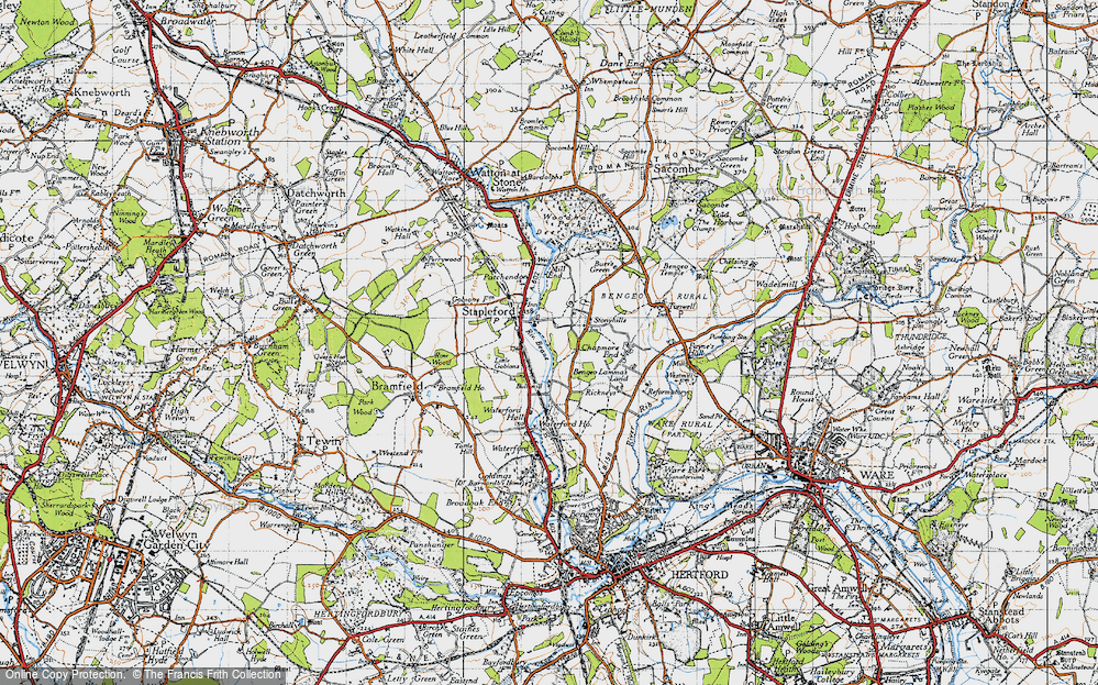 Old Map of Historic Map covering Woodhall Park in 1946