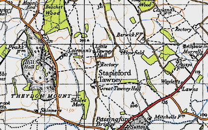 Old map of Stapleford Tawney in 1946