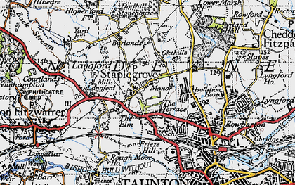 Old map of Staplegrove in 1946