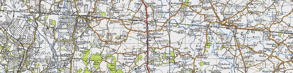 Old map of Staplehurst in 1940