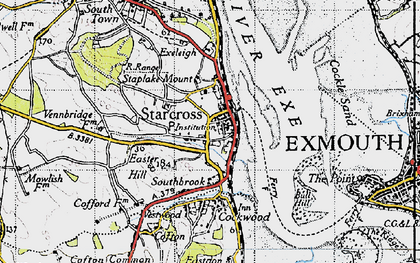 Old map of Starcross in 1946