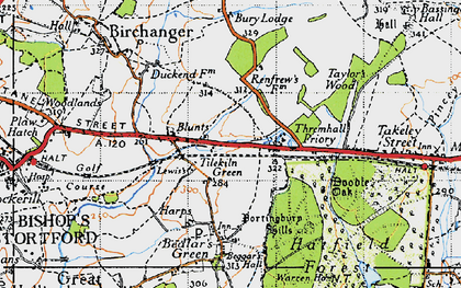 Old map of Start Hill in 1946