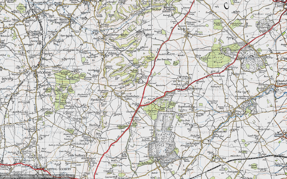 Old Map of Historic Map covering Bangel Wood in 1946
