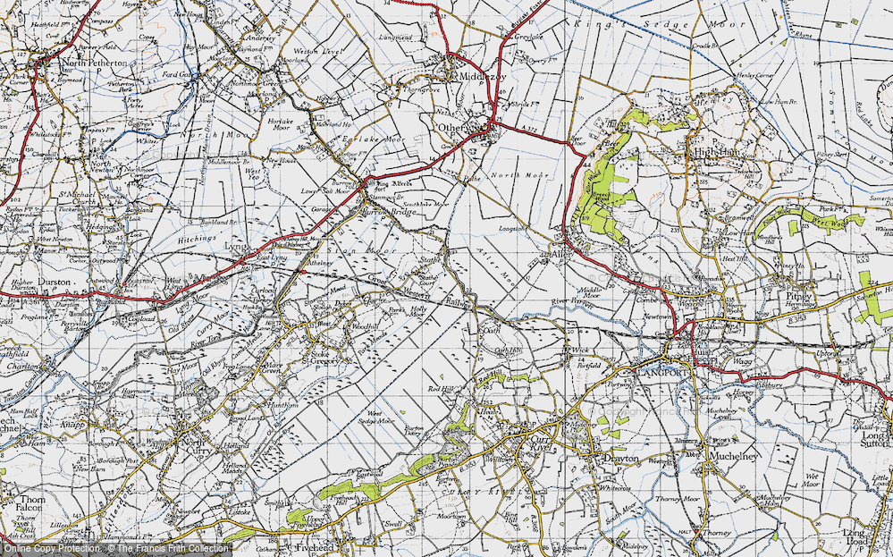 Old Map of Historic Map covering Aller Moor in 1945