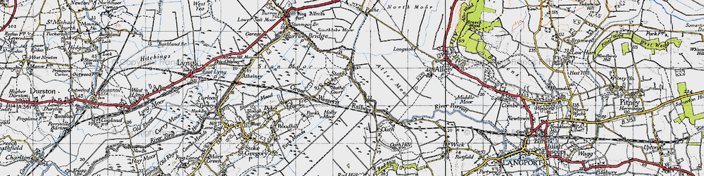 Old map of Aller Moor in 1945