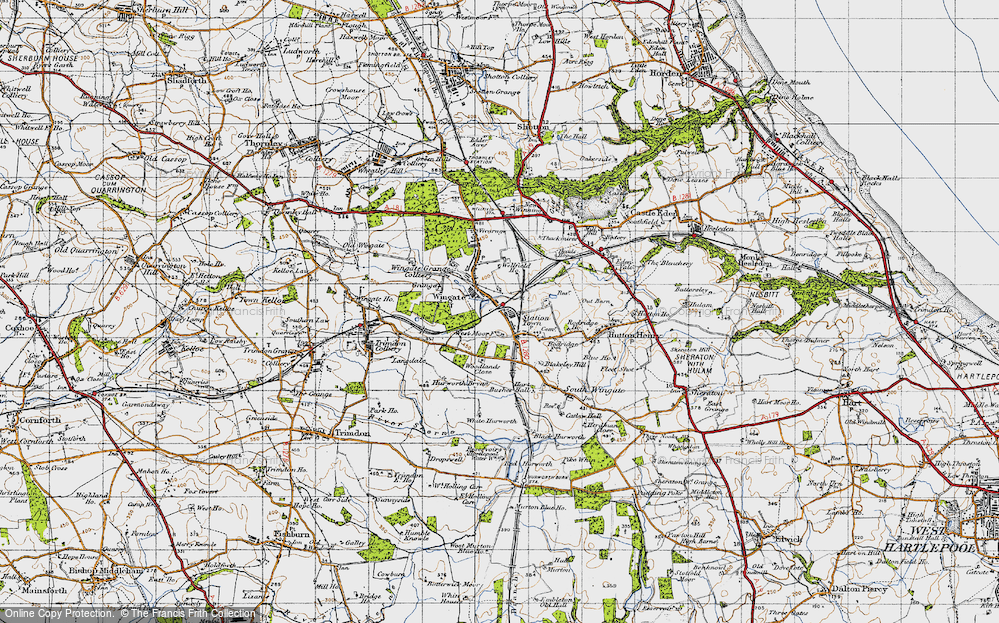 Old Map of Historic Map covering Woodlands Close in 1947