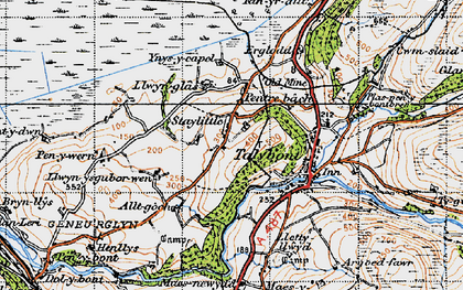 Old map of Ynysycapel in 1947