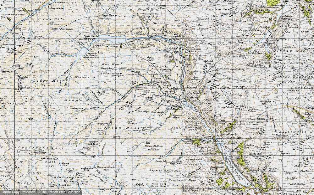 Old Map of Historic Map covering Backstean Gill in 1947