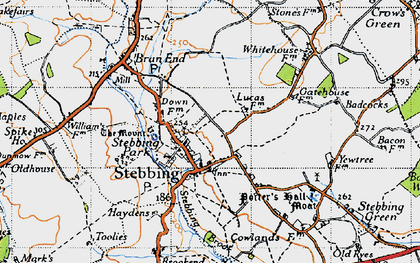 Old map of Stebbing in 1946