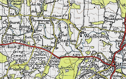 Old map of Stedham in 1945