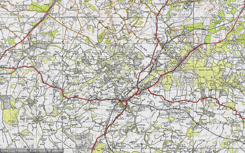 Old Map of Historic Map covering Ashford Chace in 1945