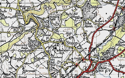Old map of Ashford Chace in 1945