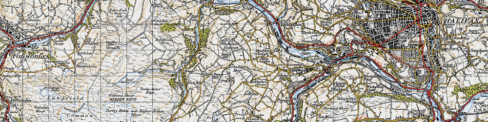 Old map of Aaron Hill in 1947