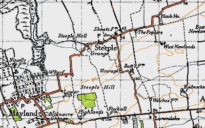 Old map of Steeple in 1945
